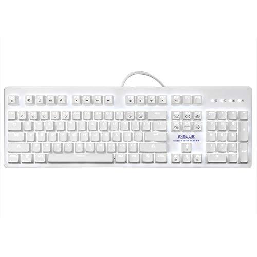 alloet E-3LUE ABS 104Schlüssel Gaming Mechanical Tastatur Hintergrundbeleuchtung Abnehmbarer Tastenkappen weiß weiß -