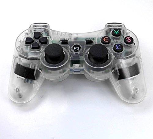 PomeMall Gamepad für Playstation 3, kabellos, transparent, kabellos transparent farblos