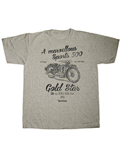 Hotfuel Or Star Imprimé Moto 107 KM/H pour Homme. Toutes Les Tailles (Petit - 6 x L) - Gris - Petit