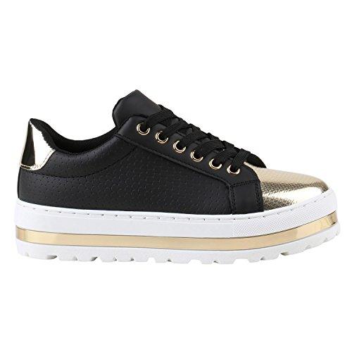 Sneakers Schwarz Damen Schuhe Plateau Gold Sneaker Metallic