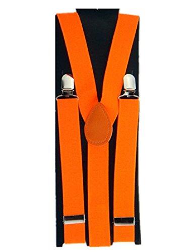 Bretelle Elastique réglable 3 pinces pour Homme forme Y Orange