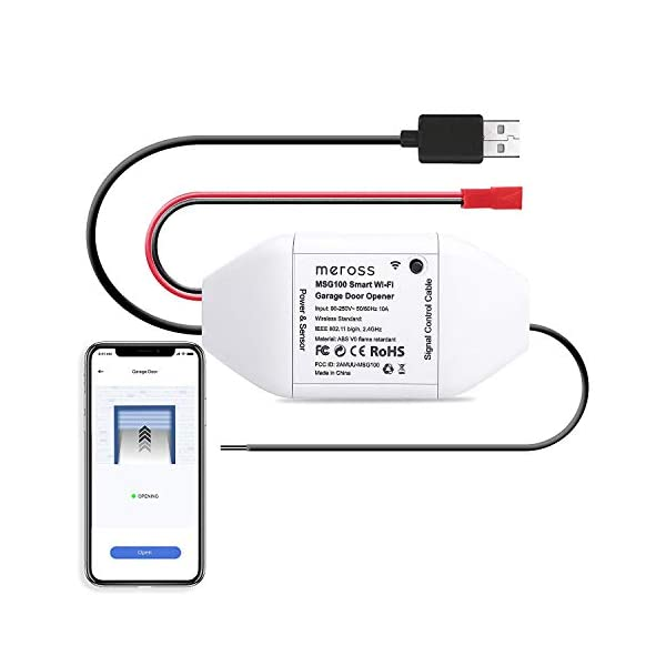 Wifi-Apriporta-Garage-Door-Opener-Smart-Intelligente-APP-Controllo-Remoto-Compatibile-con-Amazon-Alexa-Google-Assistant-e-IFTTT-Nessun-Hub-Richiesto-Meross-MSG100