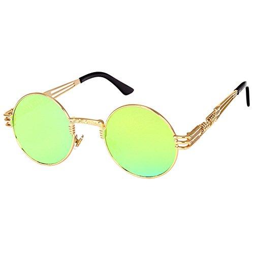 Highdas Steampunk Punk Rock Shades Vintage Runde Sonnenbrille C5
