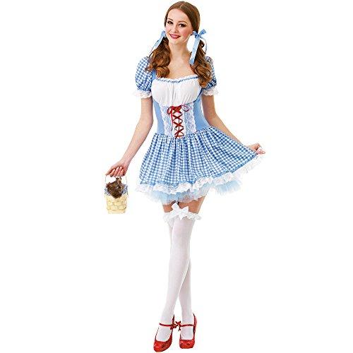 Unbekannt Kansas Belle Damen Halloween-Kostüm Sexy Dorothy of Oz Blau kariert Kleid - Blau - (Belle Blau Kleid Kostüm Für Erwachsene)