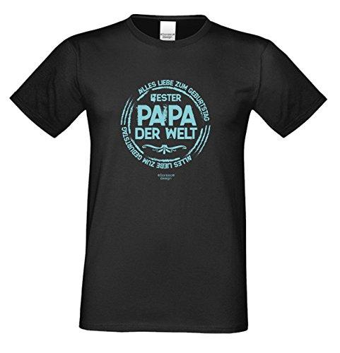 Fun T-Shirt Bester Papa der Welt als Geburtstags-Weihnachts-Vatertags-Geschenk für Ihren Daddy Papa Vater auch Übergrößen 3XL 4XL 5XL in vielen Farben schwarz-01