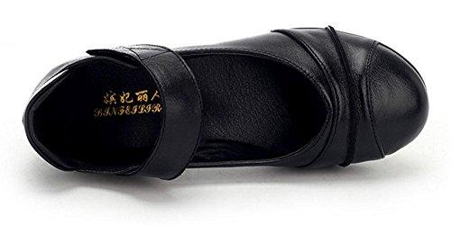 SHIXR Damen Tanzschuhe für Weiche Unterseite moderne Tanz-Sport-Schuhe Breathable Frühlings-Quadrat-Mary-Jane-Schuhe Schwarz