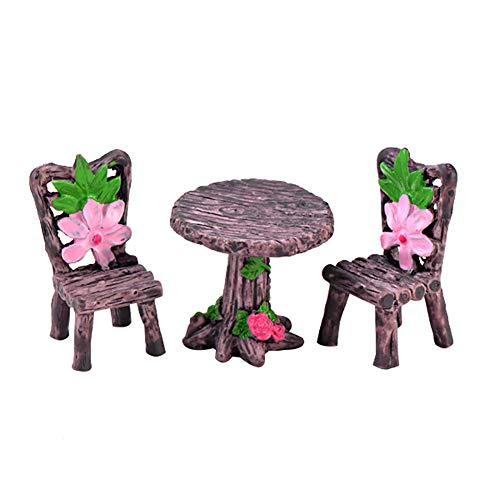 shyyymaoyi Niedlicher Mini-Tischstuhl Junge und Mädchen DIY Garten Mikro-Landschaft Puppenhaus Ornament 3 Stück