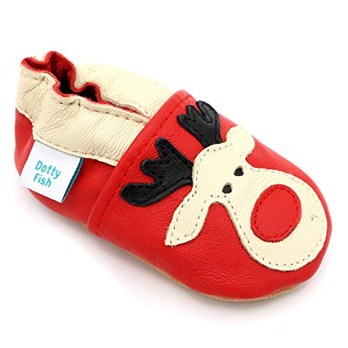 Dotty Fish weiche Leder Babyschuhe mit rutschfesten Wildledersohlen. 0-6 Monate (17 EU). Weihnachten. Roter Schuh mit Rudolph das rotnasige Rentier Design. Kleinkind Schuhe.