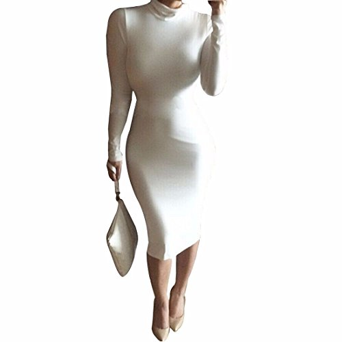 Les femmes rondes robes minces sexy cou a manches longues Bandage jupe robe de coton Blanc
