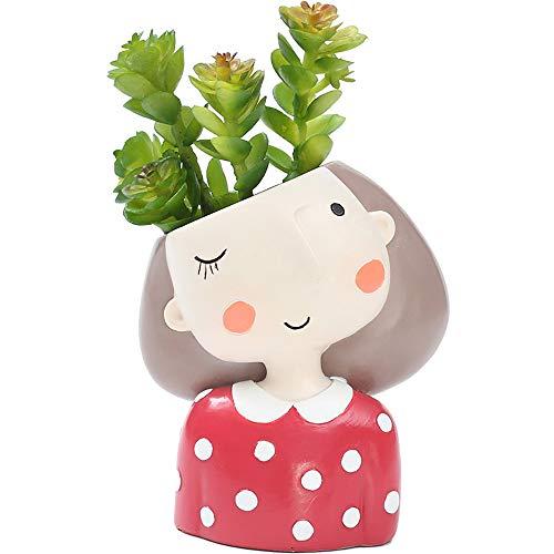 Upxiang Résine Pot de Plante Mignon de Fille Godet pour Semis Pot de Fleurs Bureau Balcon Jardin Home Decor Décoration de Exterieur et Interieur