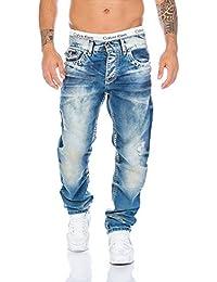 Cipo & Baxx Herren Nähte Jeans Hose blue