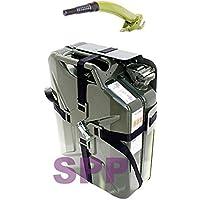 SPP JC20 V + CM + SX Jerry Can, contenitore metallico, omologato per combustibile, colore verde, 20 l + erogatore + supporto verde a croce