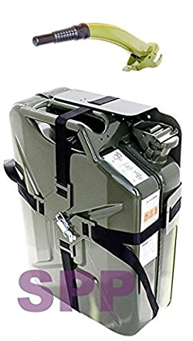 SPP jc20V + CM + SX–Jerry Can/bidon Metalico–Approved for Fuel 20L Green + vaciador + Stand Green Cross Type