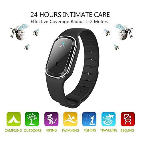 Mengzf ultrasuoni bracciale repellente per zanzare,ultrasuoni repeller non tossico viaggi anti zanzara repellente fasce wristband braccialetto per campeggio, escursionismo,pesca adulti bambini (nero)