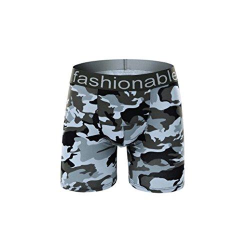 Unterhosen Herren,Binggong Mode Herren kurze Baumwolle Camouflage Unterwäsche Shorts Boxer Unterhose Nachtwasche Elegant Slip Gemütlich Atmungsaktiv underpant Reizvolle (Weiß, L) (Baumwolle-crew Boxer)