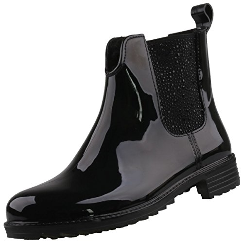 Rieker Damen Gummi-Stiefel gefüttert Schwarz, Schuhgröße:EUR 38