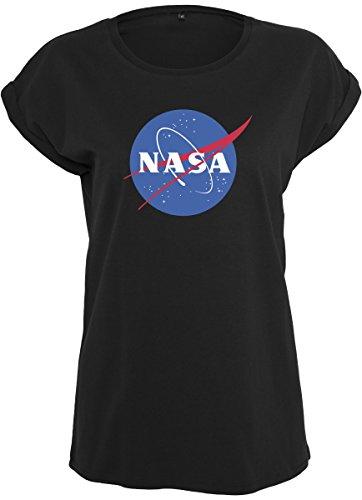 Mister Tee Ladies NASA Insignia Tee - Damen Streetwear T-Shirt, Black, Größe L (L/s Womens Klassische Shirt)