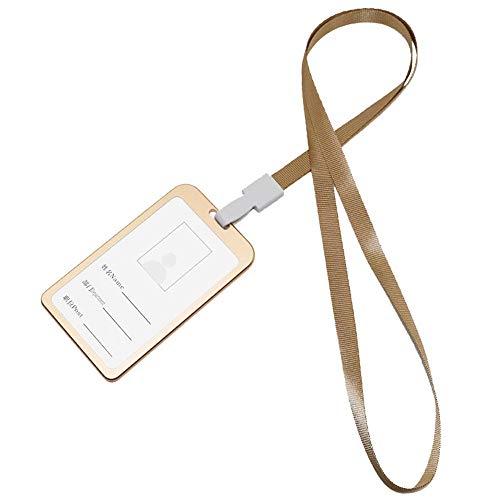 Nuoyi 10 Büro-Abzeichen-Halter doppelseitige Aluminium-Abzeichen-Kartenhalter Brieftasche mit abnehmbarem Halsband/Ticket Exquisite Verarbeitung,Gold (Aluminium-abzeichen-halter)