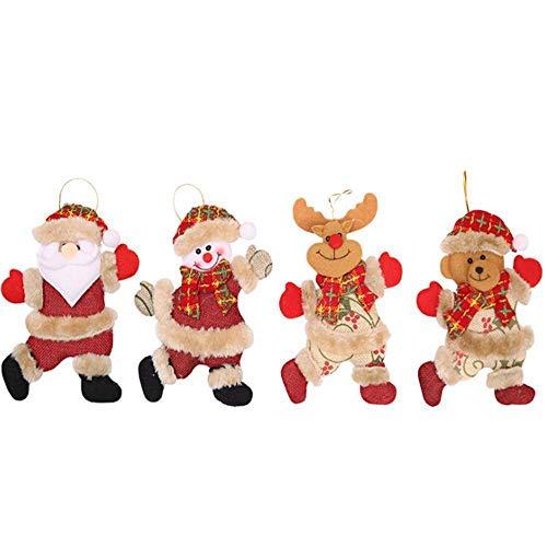 VEIREN 4 Pièces Décoration de Noël Arbre Ornement Père Noël Bonhomme de Neige Renne Ours Suspendue Décor Cadeau pour Arbre de Noël Nouvel an Décoration de Maison
