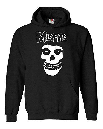 """Felpa Unisex """"Misfits"""" - Felpa con cappuccio rock metal LaMAGLIERIA, L, Nero"""