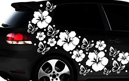 HR-WERBEDESIGN 108-teiliges Auto Aufkleber Hibiskus Blumen Schmetterlinge Hawaii WANDTATTOO l2p
