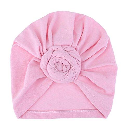 Everpert Neugeborene Kinder Baby Hüte Turban Mützen Kopfbedeckungen Falten Hat rose (Mütze Falten)