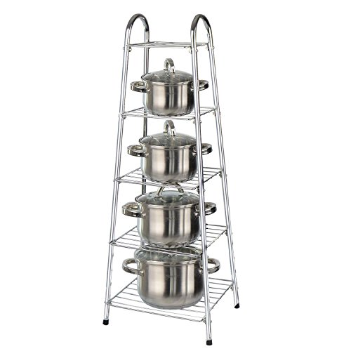 Taylor & Brown® 90cm High 5 Tier Chrome Kitchen Pan Stand Pot Saucepan Storage Organiser Unit Rack Holder
