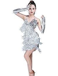 Gtagain Latino Danza Abiti Frange Vestito Donna - Paillettes Gonna Senza  Maniche Halter Nappa Dancewear Costume 06e82a21f92