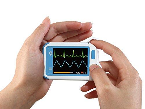 Tragbarer EKG - Monitor mit Farb - LCD - Touchscreen | Kabelloser Smart-EKG-Monitor mit EKG-, O2-, BP- und PR-Test, Heartmate G-EKG-HM2