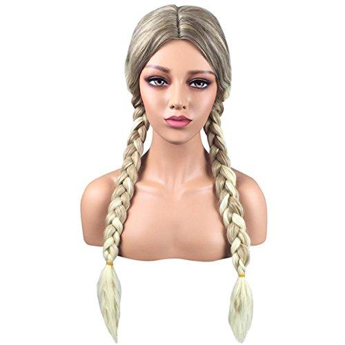 Longra Femmes haute qualité Perruque Cheveux de synthétiques Double tressé Long Complète bouclé ondulé Chaleur résistant Dentelle Perruque avant Longue Perruques noires cheveux Mode (One size)