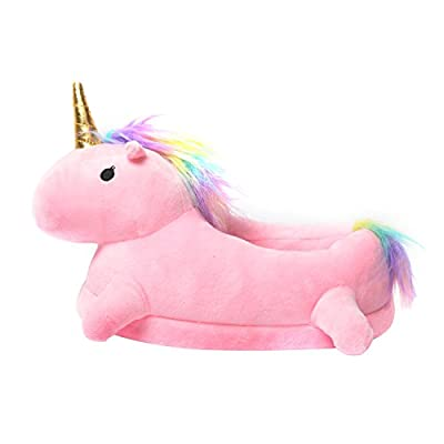 Licorne Chaussons Slip-on en Peluche Pantoufle Unicorn Adulte Taille 35-40