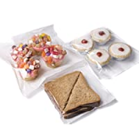 "bag it Plastics Film Fronted Paper Bags Cakes Sweets 7"" x 7"" - Pack of 100"