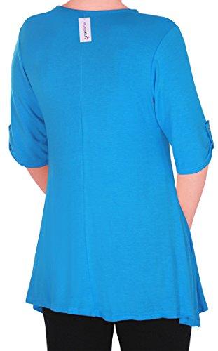 Eyecatch TM Oversize - Haut Tunique manches longues 3/4 large col rond grandes tailles- Jessica - Femme Turquoise