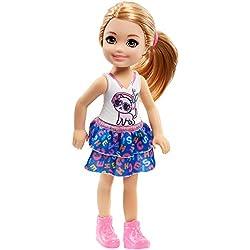 Barbie Famille mini-poupée Chelsea fille avec haut orné d'un motif chat, jouet pour enfant, FRL82
