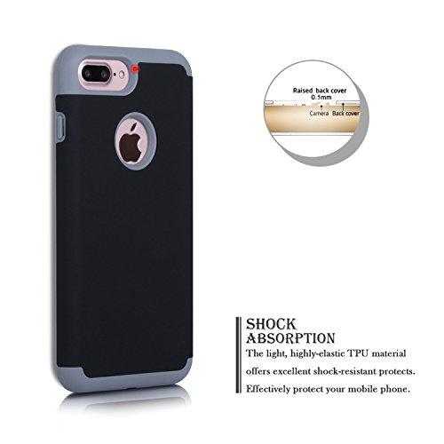 iPhone 7 Plus Hülle, SpiritSun iPhone 7 Plus Schutzhülle Hybrid Dual Layer Handyhülle Weich TPU Silikon + PC Hart Case Anti-stoß Kratzfeste Stoßdämpfung Bumper Cover Hülle für Apple iPhone 7 Plus (5.5 Schwarz