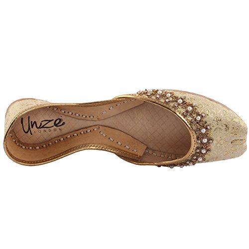 Unze Signore delle donne tradizionale CHERA rilievo Handmade indiano casual scarpe di cuoio piatto Khussa Pantofole FORMATO BRITANNICO 3-8 Oro