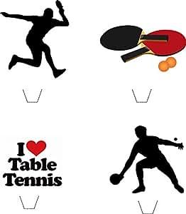 12 x Neuheit Tischtennis mischen essbaren aufstehen Wafer Papier kuchen deckel