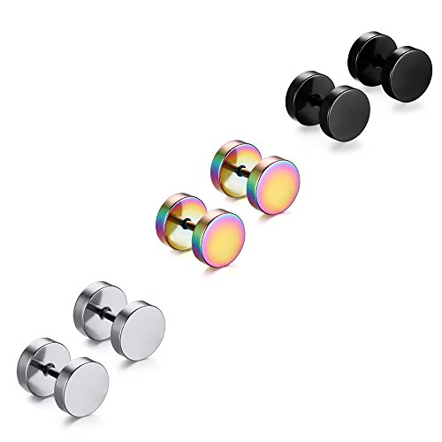 3 Paare 8 mm Tian Edelstahl Herren Ohrstecker Creolen Tunnel Ohrringe für Damen Fakeplug Fake Plug Ohrringe Edelstahl Herren Pierced Earrings Schwarz Stainless Steel Mens Womens Stud Earrings Set Ear Piercing Plugs Tunnel Punk Style