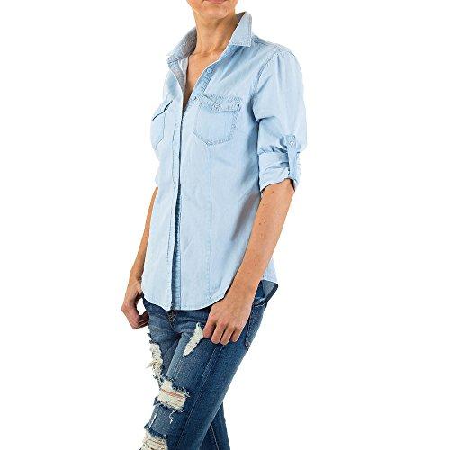 Used Look Jeans Hemd Bluse Für Damen bei Ital-Design Hellblau
