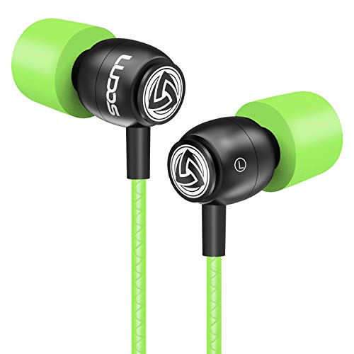 LUDOS CLAMOR Earphones In-Ear Headphones Audio, New Generation Memory Foam, Reinforced Cable, Microphone, Bass, Volume Control for Samsung, iPhone, Huawei, LG, and Smartphone