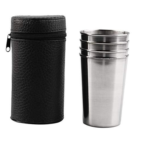 ahl-Camping-Tassenbechern, die Kaffee-Tee mit Etui Trinken - Silber ()