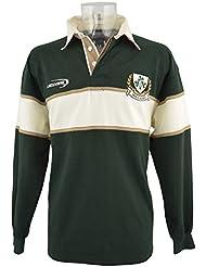 Camiseta de manga larga de rugby de Irlanda color verde botella / natural 3 Tréboles - XL