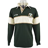 Camiseta de manga larga de rugby de Irlanda color verde botella / natural 3 Tréboles - XXL