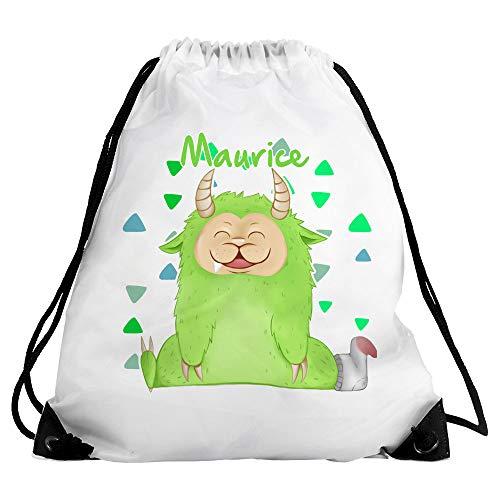 Eurofoto Turnbeutel mit Namen Maurice und Motiv - Kleines Monster - für Jungen | Sport-Beutel für Kinder | Gymbag