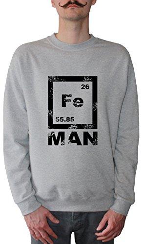 Mister Merchandise Herren Pullover Sweater FE Man Iron Man , Größe: XXL, Farbe: Grau