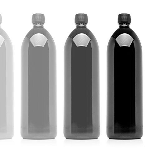 ser 1Liter (34Fl Oz) rund UV-Große Glas Wasser Flasche schwarz ()
