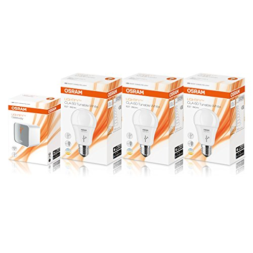Osram Lightify Work and Relax Kit/Including: Osram Lightify Gateway and 3 Osram Lightify Smart Home Connected LED Light Bulb E27 - 9.5 W/60 W, Replacement/Dimmable/Warm-White to Day Light 2700 K, 6500 K