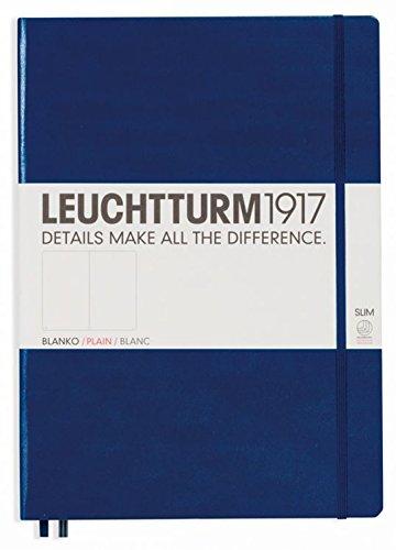 Leuchtturm 1917Navy Hard Cover Tagebuch, Slim A4-Uni/Blanc -