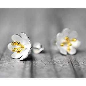 """925 Sterling Ohrstecker""""Butterblume"""" Bicolor"""