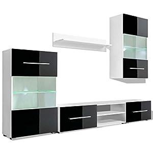 vidaXL 5tlg. Hochglanz Wohnwand Mediawand TV-Schrank mit LED-Beleuchtung Schwarz
